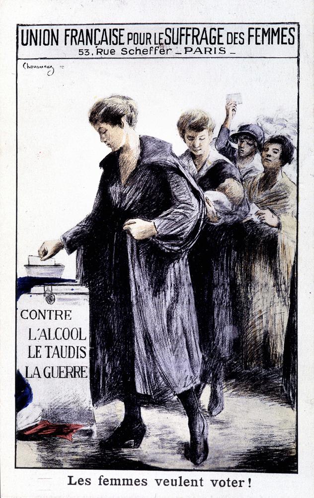 Les femmes veulent voter ! » - Affiche de l'Union Française pour le Suffrage  des Femmes, vers 1920