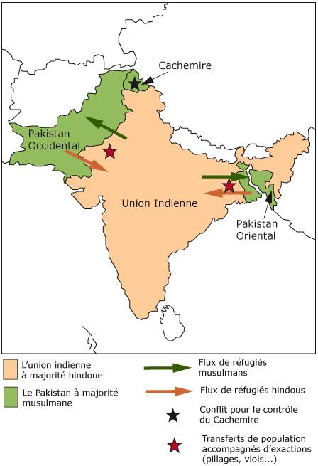 Carte Du Partage De Linde En 1947.Cours De Histoire Geographie La Fin De L Empire Des Indes