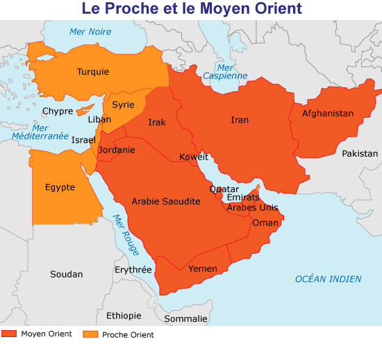 Carte Du Monde Orient.Cours De Histoire Geographie Proche Orient Et Moyen Orient